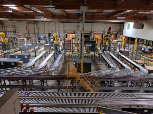 Empty multiple conveyors in a large Jelly Belly factory